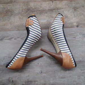 Gianni Bini Shoes - Gianni Bini Boulevard Striped Stiletto Heel Navy